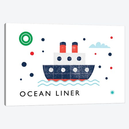 O Is For Ocean Liner Canvas Print #PPX75} by PaperPaintPixels Canvas Art