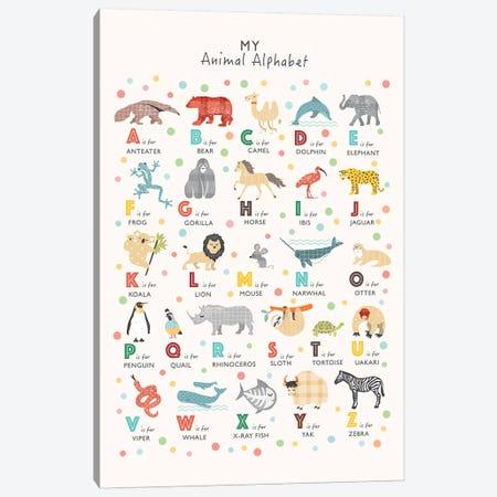 Animal Alphabet Canvas Print #PPX7} by PaperPaintPixels Canvas Wall Art