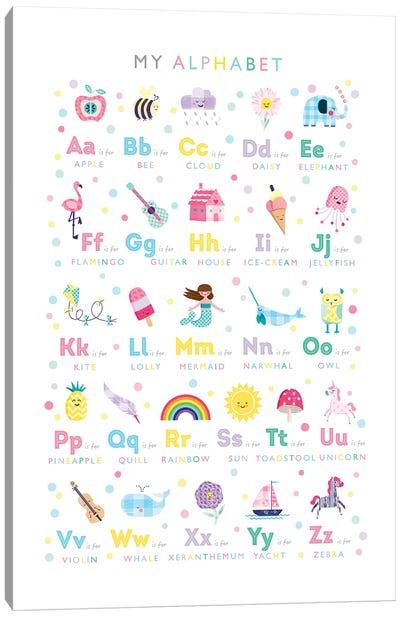 Pastel Alphabet Print Canvas Art Print