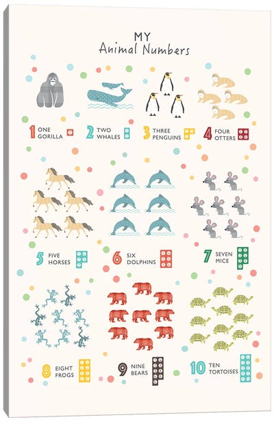 Animal Numbers Canvas Art Print