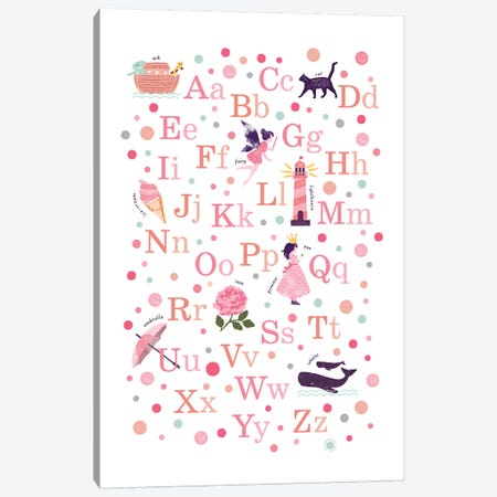 Pink Girls Alphabet Canvas Print #PPX91} by PaperPaintPixels Art Print