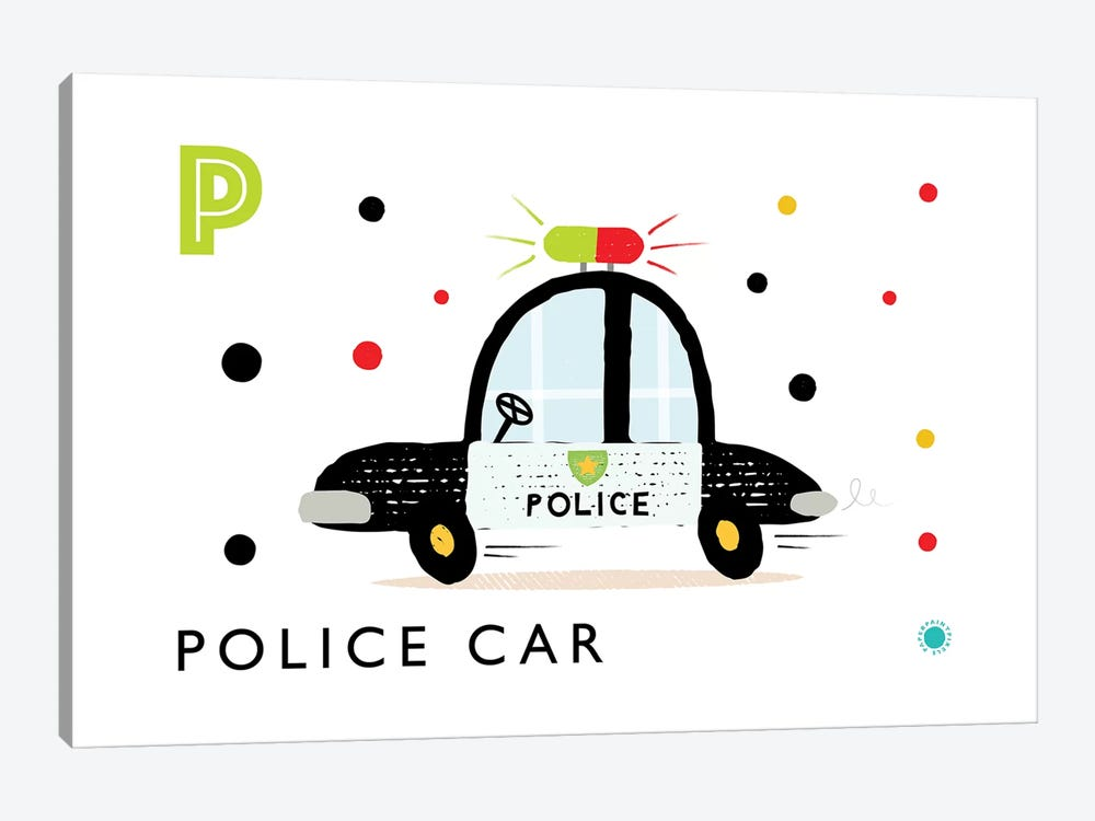 P Is Forpolice Car by PaperPaintPixels 1-piece Canvas Wall Art