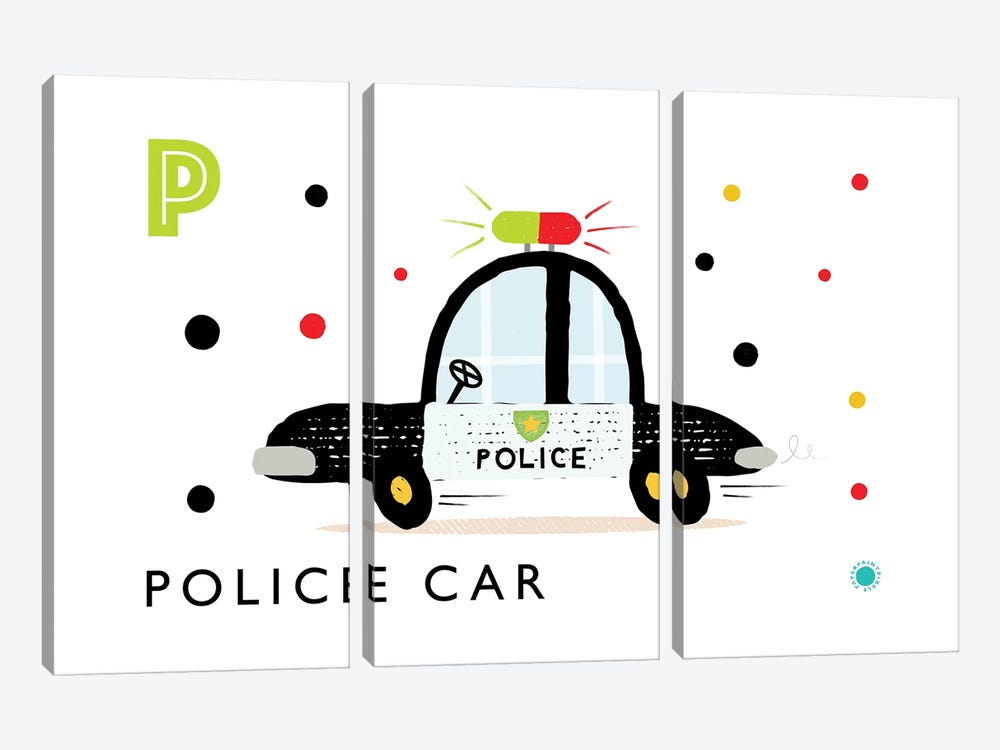 P Is Forpolice Car by PaperPaintPixels 3-piece Canvas Artwork