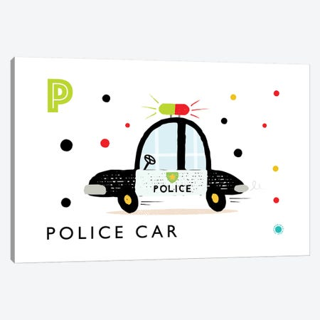 P Is Forpolice Car Canvas Print #PPX93} by PaperPaintPixels Canvas Print