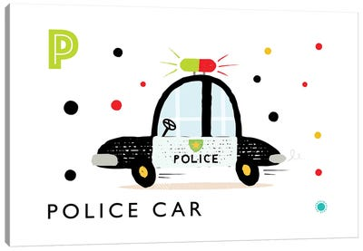 P Is Forpolice Car Canvas Art Print