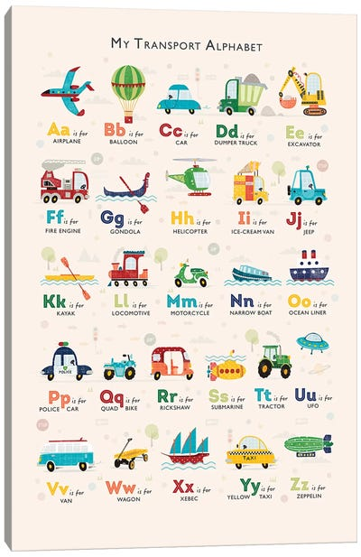 Retro Transport Alphabet Canvas Art Print