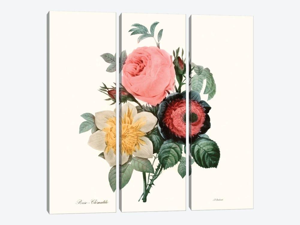 Blushing Bouquet II by Pierre-Joseph Redouté 3-piece Canvas Art
