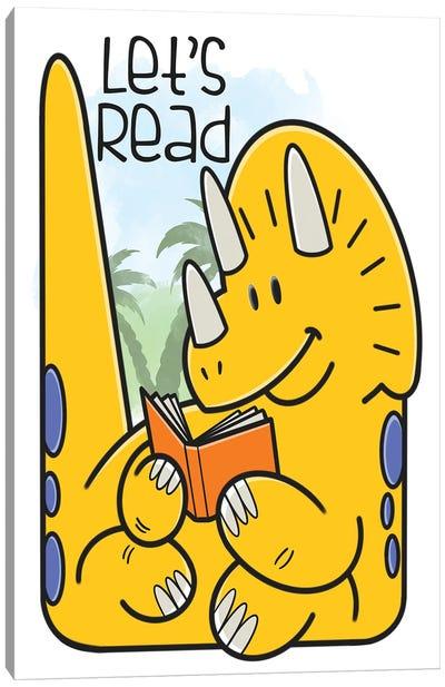 Dino Reading Canvas Art Print