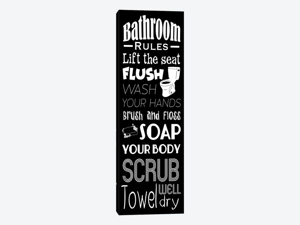 Bath Rules BW by Marcus Prime 1-piece Canvas Print