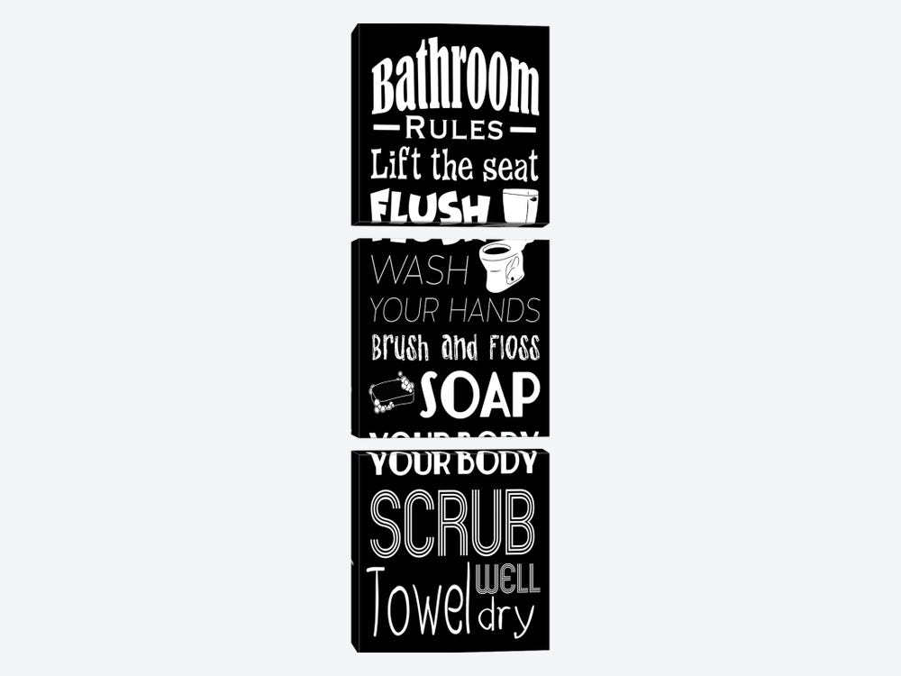 Bath Rules BW by Marcus Prime 3-piece Canvas Print