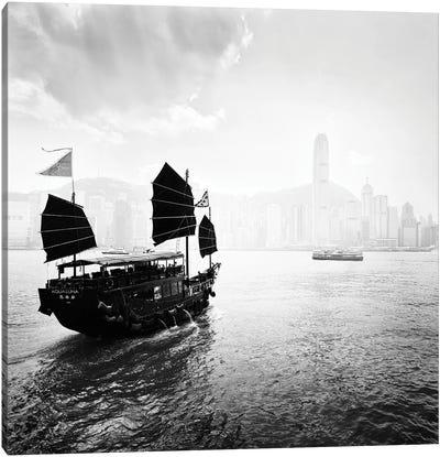 Boat In Hong Kong Bay Canvas Art Print