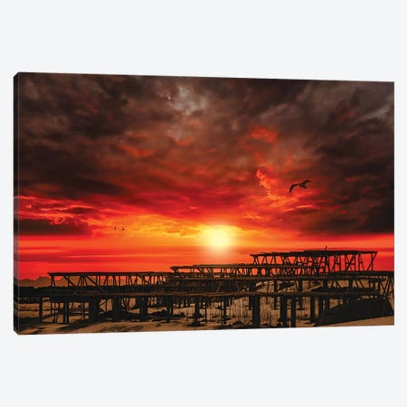 Sunset At Reine Canvas Print #PSL155} by Philippe Sainte-Laudy Canvas Art Print