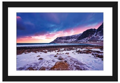 Sunset At Unstad Framed Art Print