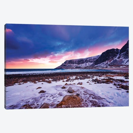Sunset At Unstad 3-Piece Canvas #PSL156} by Philippe Sainte-Laudy Art Print