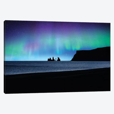 Vik Under Lights Canvas Print #PSL175} by Philippe Sainte-Laudy Canvas Art Print
