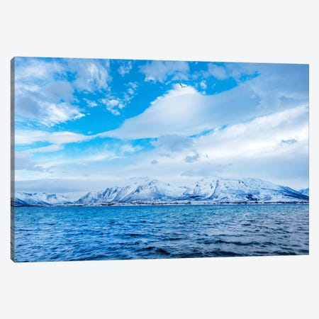 Blue Fjord Canvas Print #PSL34} by Philippe Sainte-Laudy Canvas Art
