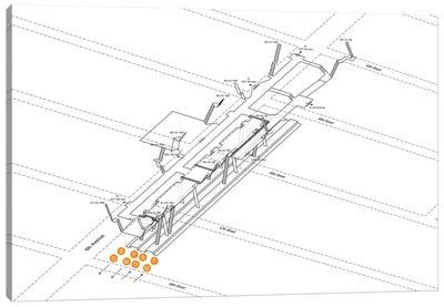 47th-50th Street Rockefeller Center Station 3D Diagram Canvas Art Print