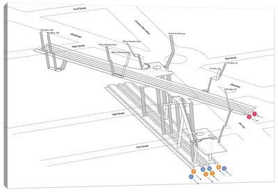 59th Street Columbus Circle Station 3D Diagram Canvas Art Print