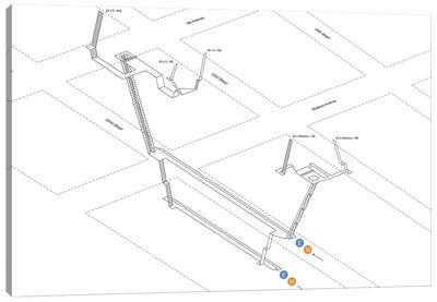 5th Avenue - 53rd Street Station 3D Diagram Canvas Art Print