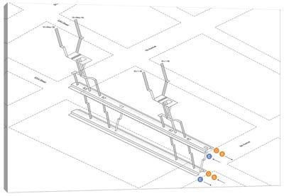 7th Avenue Station 3D Diagram Canvas Art Print