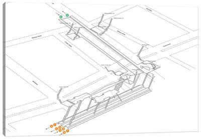 Bleecker Street - Broadway - Lafayette Street Station 3D Diagram Canvas Art Print