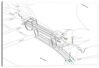Brooklyn Bridge - City Hall - Chambers Street Station 3D Diagram Canvas Art Print
