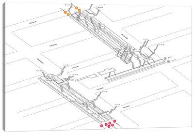 14th Street - 6th Avenue Station 3D Diagram Canvas Art Print