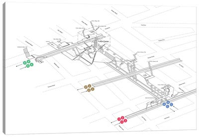 Fulton Street Station 3D Diagram - Manhattan Canvas Art Print