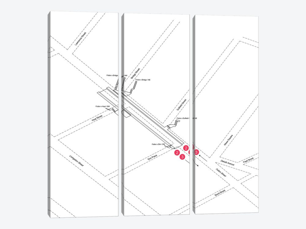 Hoyt Street Station 3D Diagram by Project Subway NYC 3-piece Canvas Wall Art