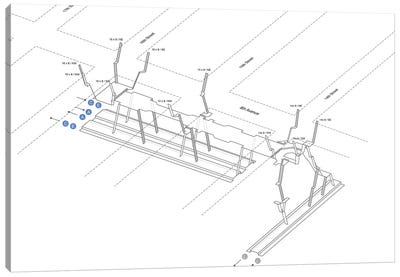 14th Street - 8th Avenue Station 3D Diagram Canvas Art Print