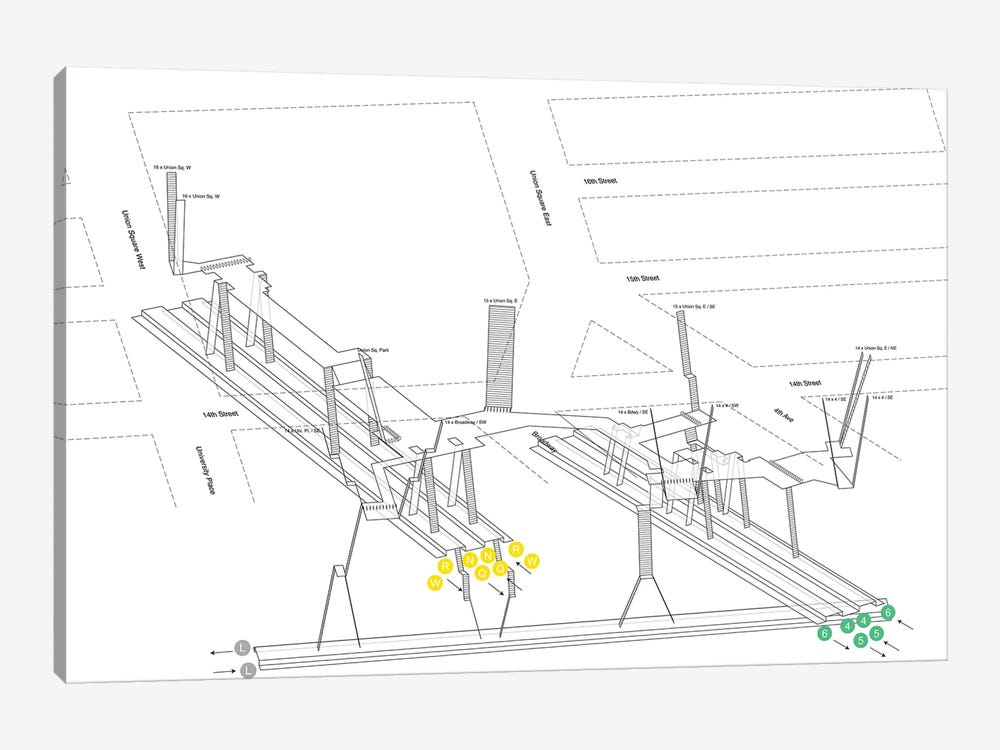 14th Street Union Square Station 3D Diagram by Project Subway NYC 1-piece Art Print