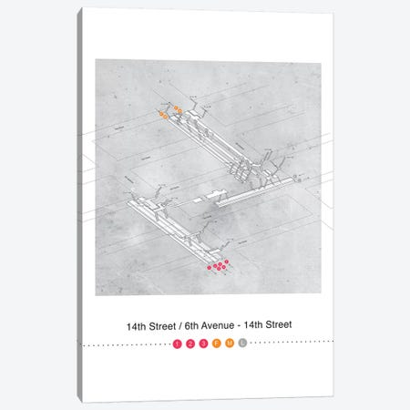 14th Street - 6th Avenue Station 3D Map Poster Canvas Print #PSN40} by Project Subway NYC Canvas Artwork