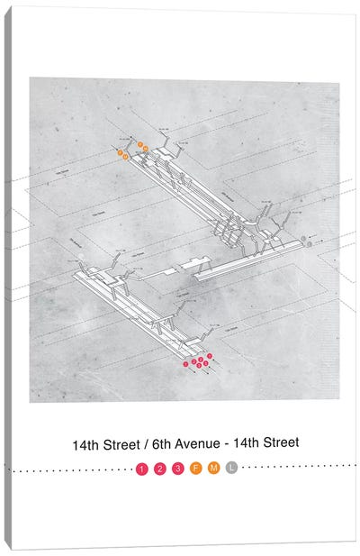 14th Street - 6th Avenue Station 3D Map Poster Canvas Art Print