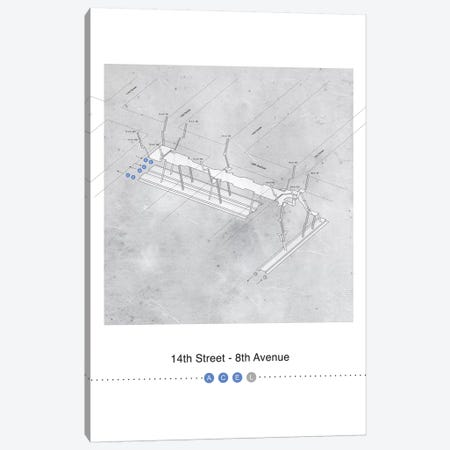 14th Street - 8th Avenue Station 3D Map Poster Canvas Print #PSN41} by Project Subway NYC Canvas Artwork