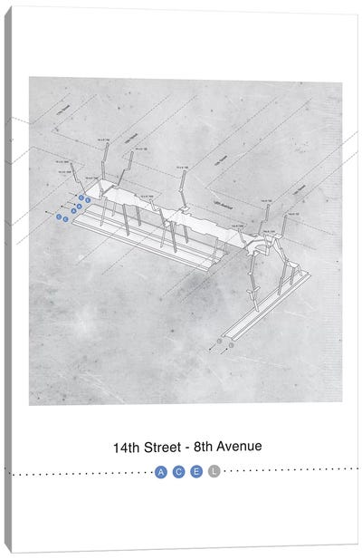 14th Street - 8th Avenue Station 3D Map Poster Canvas Art Print