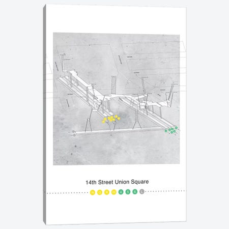 14th Street Union Square Station 3D Map Poster Canvas Print #PSN43} by Project Subway NYC Canvas Wall Art
