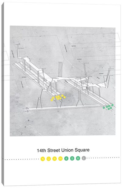 14th Street Union Square Station 3D Map Poster Canvas Art Print