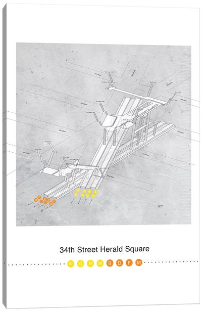 34th Street Herald Square Station 3D Map Poster Canvas Art Print