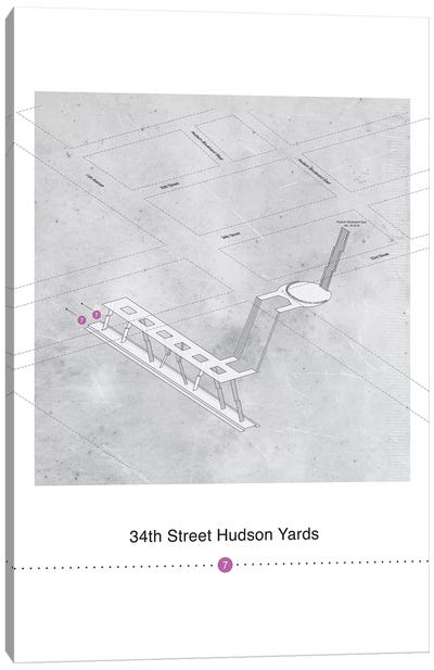 34th Street Hudson Yards Station 3D Map Poster Canvas Art Print