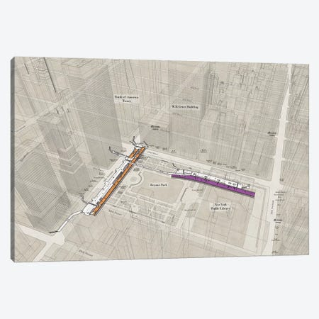 42nd Street Bryant Park - Subway 3D X-Ray Canvas Print #PSN48} by Project Subway NYC Canvas Wall Art