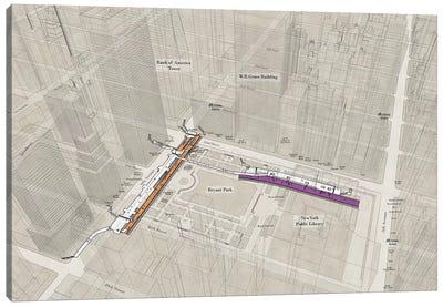 42nd Street Bryant Park - Subway 3D X-Ray Canvas Art Print