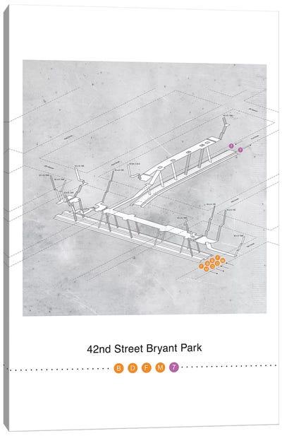 42nd Street Bryant Park Station 3D Map Poster Canvas Art Print
