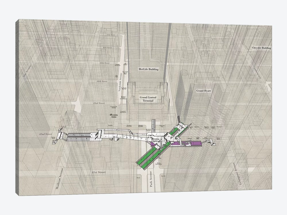 42nd Street Grand Central - Subway 3D X-Ray by Project Subway NYC 1-piece Canvas Artwork