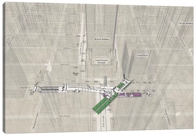 42nd Street Grand Central - Subway 3D X-Ray Canvas Art Print