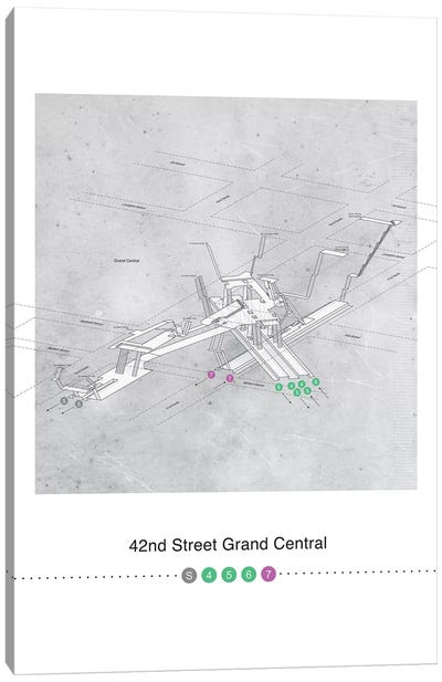 42nd Street Grand Central Station 3D Map Poster Canvas Art Print