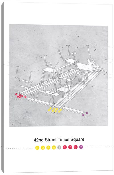 42nd Street Times Square Station 3D Map Poster Canvas Art Print