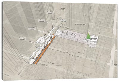 47th-50th Street Rockefeller Center - Subway 3D X-Ray Canvas Art Print