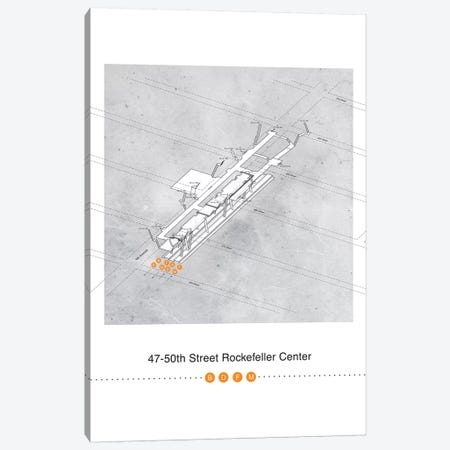 47th-50th Street Rockerfeller Center Station 3D Map Poster Canvas Print #PSN55} by Project Subway NYC Canvas Art
