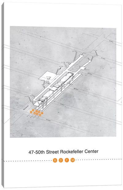 47th-50th Street Rockerfeller Center Station 3D Map Poster Canvas Art Print