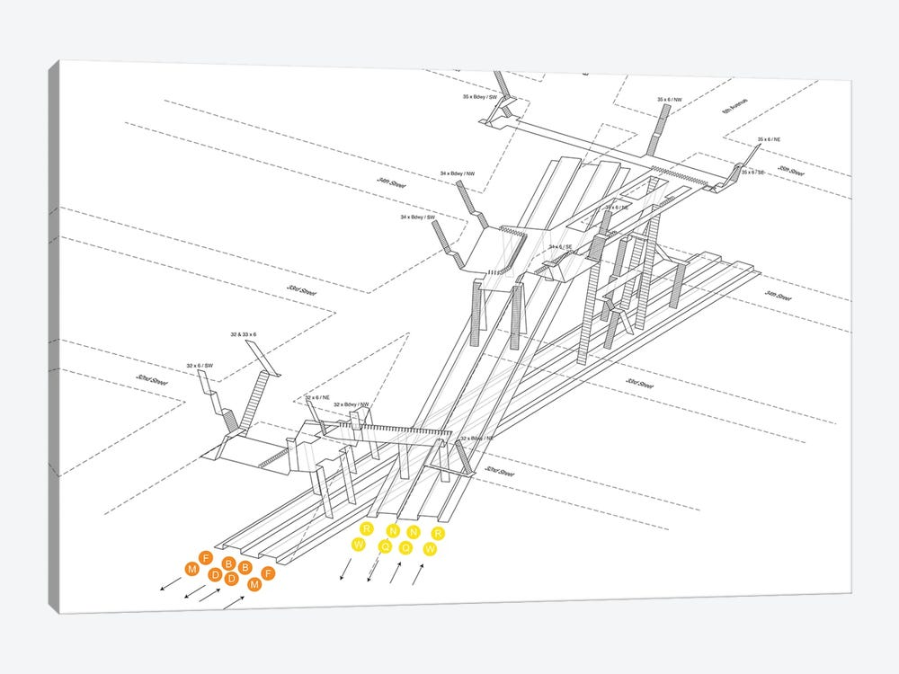 34th Street Herald Square Station 3D Diagram by Project Subway NYC 1-piece Art Print